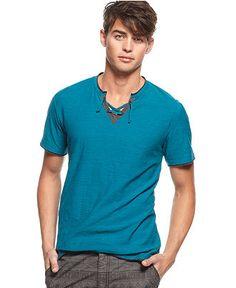 Bar III Shirt, Short Sleeve Enrique Drawstring Y Neck Shirt - Macy's