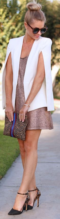 Chic In The City~ White Cape Blazer by Ash N' Fashn- #LadyLuxuryDesigns
