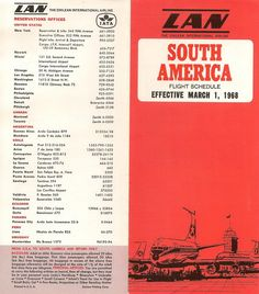 LAN Airlines (South America) Vintage Airline Timetable from 1968