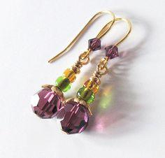 Mardi Gras Earrings Purple Green Gold by SendingLoveGallery, $20.00