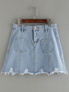 Falda bolsillos denim -azul claro