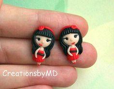 little girls stud earrings polymer clay fimo by CreationsbyMD