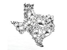 Texas Wildflowers designed by Rorymade. the global community for designers and creative professionals. Western Tattoos, Wildflower Drawing, Sharpie Drawings, Texas Tattoos, Best Embroidery Machine, Watercolor Kit, Simplistic Tattoos, Tattoo Outline, Acrylic Painting Canvas