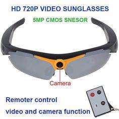 94844f9b26ced Spy Sunglasses 720P 5MP Camera Video Remote Controller 170 Degree View  Angle Smart Electronics Glasses