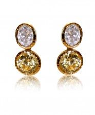 Jarin Double Drop CZ and Canary Round Earrings