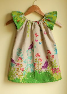 spring birds - peasant dress perfect for summer - green color. $42.00, via Etsy.