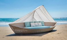Dream away in free spirited style in this gorgeous Boat Daybed, a combination of stunning design, luxury materials and superior craftsmanship. This daybed is inspired by a sail boat style and inclu. Boat Furniture, Plywood Furniture, Garden Furniture, Furniture Design, Outdoor Furniture, Outdoor Decor, Antique Furniture, Rattan Daybed, Outdoor Daybed