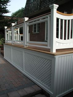 Ideas for Your Deck? Browse These Images deck railing ideas for front porch deck but more open space at bottom for shoveling snowdeck railing ideas for front porch deck but more open space at bottom for shoveling snow Deck Railings, Railing Ideas, Deck Stairs, Glass Railing, Banisters, Porch Lattice, Deck Skirting, Deck Storage, Deck Pictures