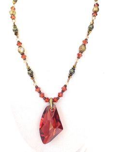 Red Crystal Pendant Necklace: Swarovski Crystals, Antique Brass; Elegant Statement Necklace, Colorful Wedding Jewelry, Handmade, Women
