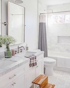 This stylish shower curtain will instantly refresh your bathroom. Guest Bathrooms, Hall Bathroom, Upstairs Bathrooms, Bathroom Renos, Dream Bathrooms, Bathroom Storage, Bathroom Ideas, Master Bathroom, Neutral Bathroom