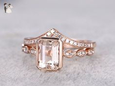 6x8mm Emerald Cut Natural Peach Pink Morganite Engagement Ring Set,Marquise Milgrain Ban Solid 14k Rose Gold Curve Diamond Bridal Wedding Matching Band Sets Art Deco Size 4-9 - Wedding and engagement rings (*Amazon Partner-Link)
