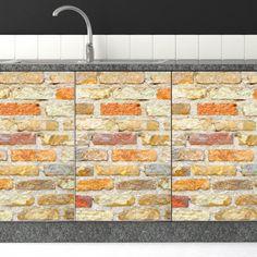 Αυτοκόλλητο για ντουλαπια κουζίνας πορτοκαλί τούβλο