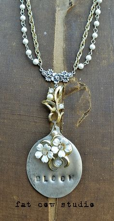 """Love the details of this necklace! Nice bloom/blossom message, too. Also """"fat cow studio"""" is an awesome name. www.fatcowstudios.com"""