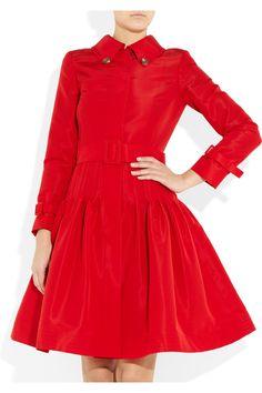 Oscar De La Renta Full Skirted Silk Faille Coat in Red (rose) | Lyst
