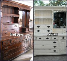 here is my re-do on a old 15 drawer dresser with hutch.  Shabby Chic'd it with chalk paint and lightly distressed, turned a outdated piece into a wanted piece!!