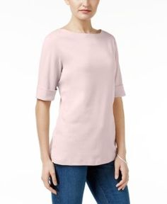 Karen Scott Petite Elbow-Sleeve Cotton Boat-Neck Top, Only at Macy's - Pink P/XS