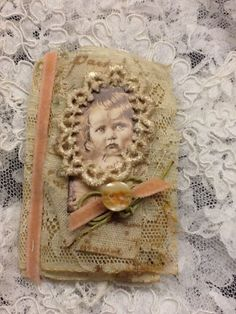 CANZICREATIONS MIXED MEDIA OOAK-FABRIC-VINTAGE-LACE-COLLAGE-BOOK-ASSEMBLAGE-L@@K