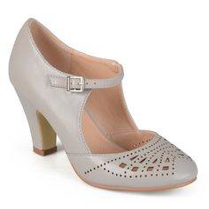 Journee Collection Women's 'Elsa' Round Toe Cutout Mary Jane Pumps | Overstock.com Shopping - The Best Deals on Heels