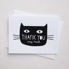 Cat Thank You Card by jenbpeters on Etsy, $3.00