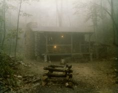 A log cabin in the woods surrounded by fog. - Free Stock Photo Id: 17600 KB) Old Cabins, Cabins And Cottages, Fog Images, Cabin In The Woods, Foggy Morning, Early Morning, Back Road, Cozy Cabin, Day For Night