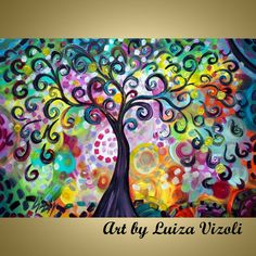 Original Painting Whimsical Tree of Life Abstract Landscape SPRING DAY by Luiza Vizoli on Etsy, $350.00