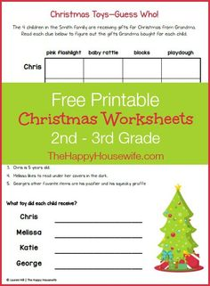 Free Christmas Themed Worksheets |The Happy Housewife