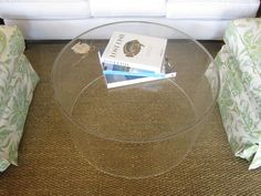 ROUND LUCITE COFFEE TABLE (place pouf underneath)