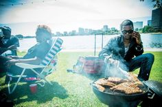 The Sunday scene at the lake.  Barbecuing It Up at Lake Merritt.  New grill-and-chill Sundays take over the greenways.