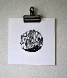 linocut print // small floral orb // by BlackWoodPrintShop on Etsy