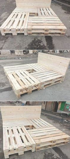 Grab this wood pallet reusing idea where the amazing formation work of the bed frame has been done t&; Grab this wood pallet reusing idea where the amazing formation work of the bed frame has been done t&; Marlen […] for home apartments creative ideas Diy Pallet Bed, Diy Pallet Projects, Pallet Bedframe, Pallet Wood Bed Frame, Simple Wood Bed Frame, Wooden Bed Frame Diy, Wood Bed Frames, Pallet Couch, Build Bed Frame