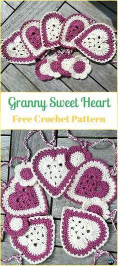 Crochet Granny Sweet Heart Free Pattern-Crochet Heart Applique Free Patterns