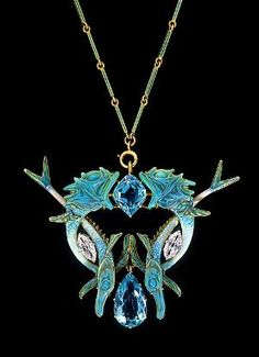 Art Nouveau, René Jules Lalique (French, 1860–1945) - Fish pendant, circa 1900. Gold, aquamarine, diamond, enamel, glass.