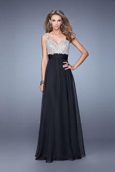 2015 Beautiful Lace Bodice Black La Femme 21505 Prom Dresses