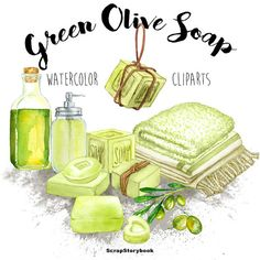 Green Olive Soap Cliparts  digital printable by WatercolorMarket