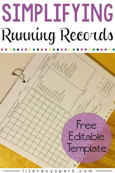 Simplifying Running Records - Gearing up for a Great Year! Tips for organizing and simplifying running records. Grab a free and editable template for administering running records that can be used with any book. Reading Assessment, Reading Intervention, Kindergarten Reading, Teaching Reading, Guided Reading, Reading Comprehension, Reading Groups, Teaching Ideas, Reading Notes