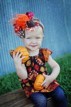 Striped Pumpkins  Headwrap Big Bow Small Bow