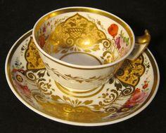 Antique Ridgway porcelain  floral Teacup & saucer