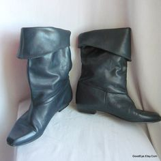 80s Leather slouch Boots / size 10 m Eur 42 UK 7 .5 / Flat Heel Pixie Cuff / Real Dark PIRATE Blue made in Brazil by GoodEye on Etsy