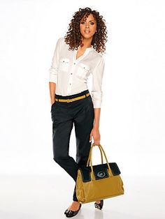 b7f9a81499b  Hose  Gürtel  Shirtbluse  Tasche. heine · Businessmode