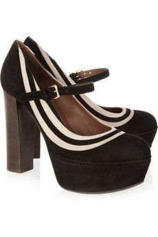Marni black and white platform mary janes