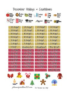 Free Printable December Holidays and Countdown Planner Stickers from Planner Problems Study Planner, Free Planner, Planner Pages, Happy Planner, Planner Ideas, Calendar Stickers, Printable Planner Stickers, Free Printable, Create 365 Planner