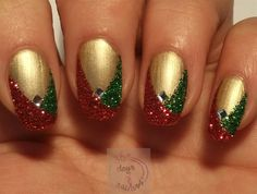 Easy glitter Christmas nails by daysofnailartnl from Nail Art Gallery
