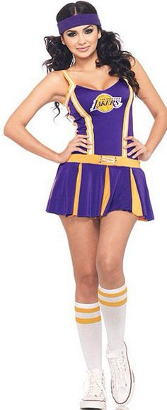 Purple Lakers Cheerleader Mini Skirt Costume $18.67  sc 1 st  Pinterest & 7 best Cheerleader Costume images on Pinterest | Cheerleader costume ...