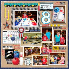 "Digital: Turning 8 - Love the playful bright colors on this page. Love the layering and the ""inspiration board"" look. Love the bowling elements - so cute! I really love the shoelace with wash tape and yellow brads. Such a cute idea of layering. Very fun."