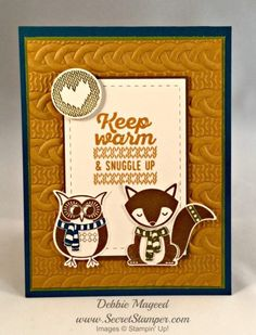 Stamp Sets: Cozy Critters, Wrapped in Warmth Paper: Dapper Denim, Old Olive, Delightful Dijon, Soft Suede Ink: Soft Suede, Old Olive, Dapper Denim Cool Tools: Cable Knit Dynamic TIEF, Owl Builder Punch, Fox Builder Punch, Stitched Rectangles Framelits