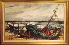 Mid Century Modern Oil Paintings | Mid Century Modern 1970's Linear Oil Painting of Boats | Modernism