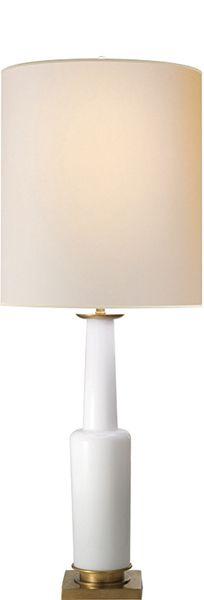 "SMALL FIONA TABLE LAMP, 29.5""h x 11""w x 4.5""sq. base, shade 11""x11""x12.75"", 1 150 watt Type A, socket: dimmer, white glass, $567"