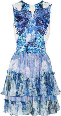Roberto Cavalli Fl Print Silk Satin And Chiffon Dress Style Tail