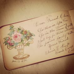 A page from Claire's great-grandmother's album from 1896. Look at the handwriting!