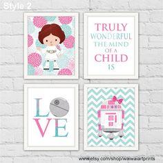 Princess Leia R2-D2 Star Wars Girl Nursery Decor. Pink Teal